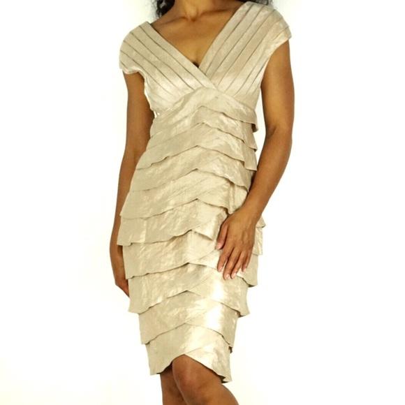 0b76065e983dca Adrianna Papell Dresses | Tiered Ruffle Formal Vneck Dress | Poshmark